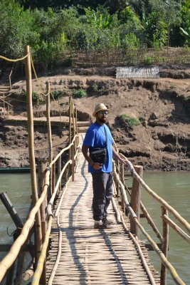 Sully crossing the bamboo bridge, Luang Prabang