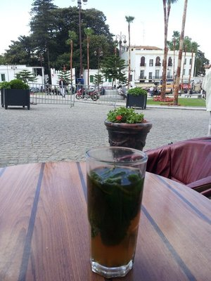 Mint tea overlooking the square in Tangier
