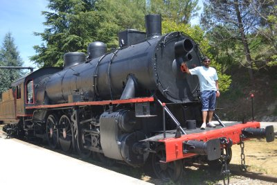 Old steam train once used on the Via Verde