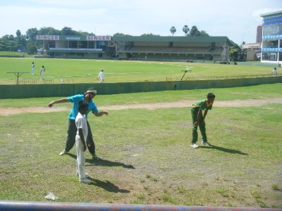 Sully playing cricket with the kids at Galle international stadium