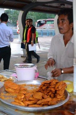 Banana and sweet potato fritters outside metro station, KL