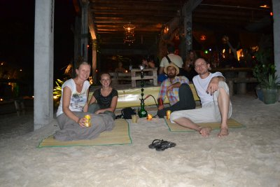 Us with Jap and Esmeralda at a late night beach bar listeing to live reggae