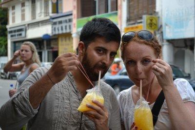 Two orange juices to take away please!