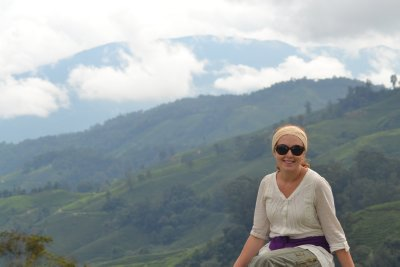 Soph enjoying views over BOH tea estate, Cameron Highlands