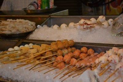 Food skewer selection - plenty of fishballs!