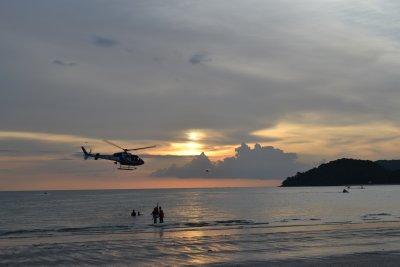 Sunset at Cenang beach, Langkawi - helicopter