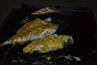 Our fish marinated and on BBQ
