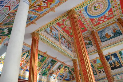Temple ceiling depcting Buddha&#39;s life, Vientiane
