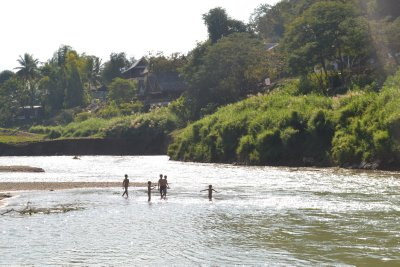 Young lads playing in the river, Luang Prabang