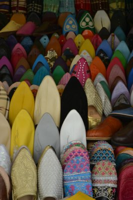 Babouches for sale in Tangier medina