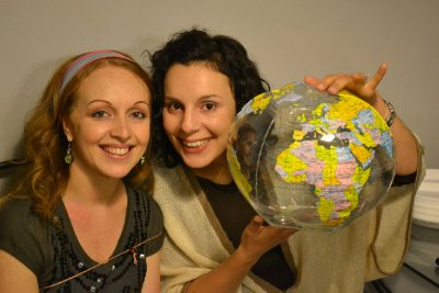 Koula with the whole world in her hands