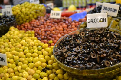 Fresh produce market in Tangier medina - olives
