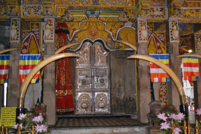 Old shrine doors at Temple of the Tooth
