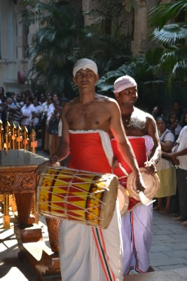 Drummers in the pooja at Temple of the Tooth