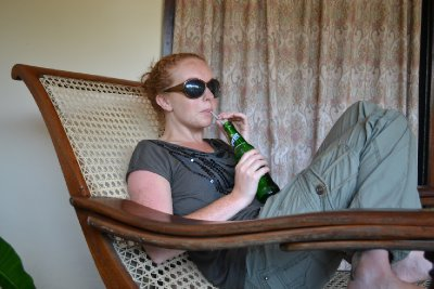 Resting on the veranda after a day of visiting temples
