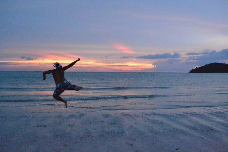 Sully practising capoeira, Langkawi