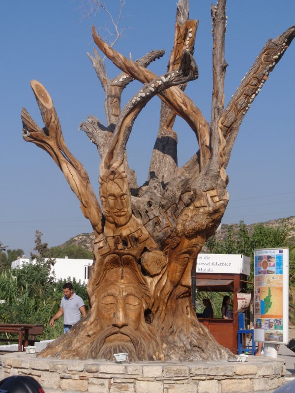 Carved Tree in Matala