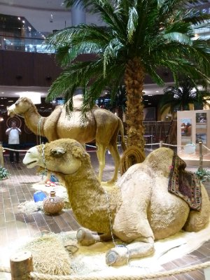 Camel display in Dubai Mall