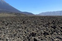 Volcanic rock covering the valley