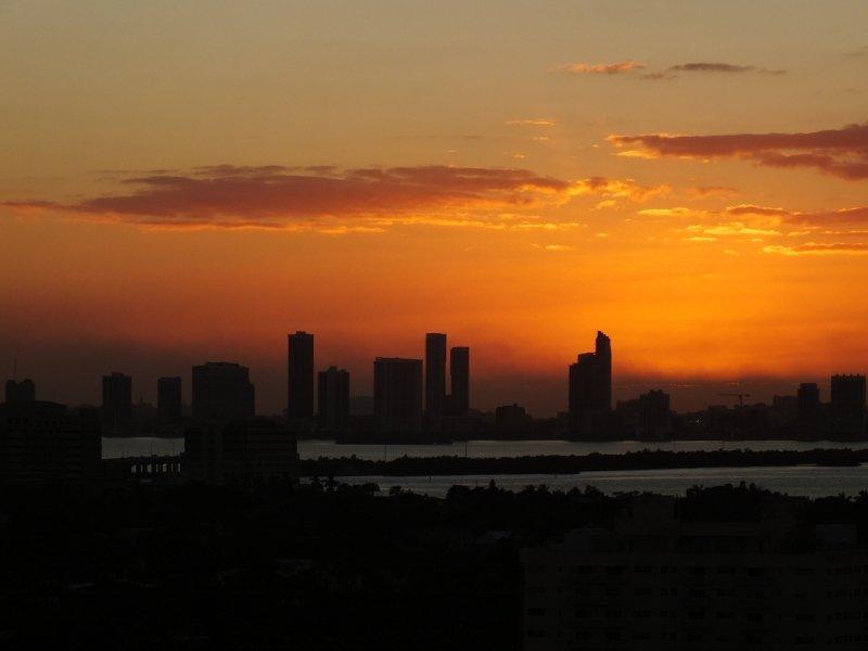 Downtown Miami sunset - uitzicht vanaf hotelkamer