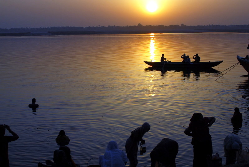 Sunrise crossing, River Ganges, Benares, India