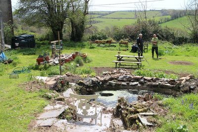 Doug chats to the gardener who is restoring the garden and uncovered the pond