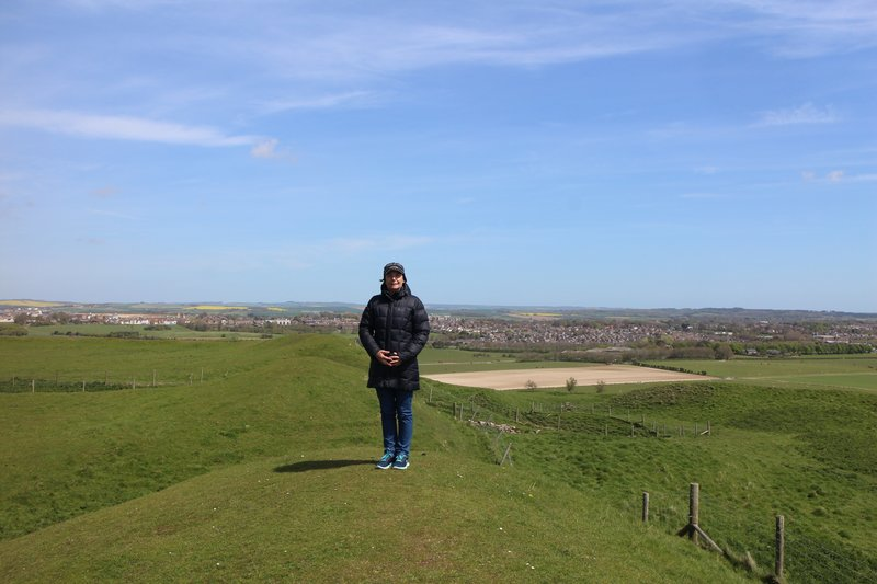 View of Dorchester from top of Maiden Castle