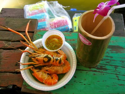 Prawns, chili sauce, and a fresh coconut slushy. My kind of lunch.