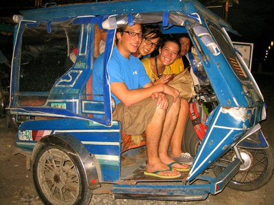"In a ""trike"" on the way to our hostel"