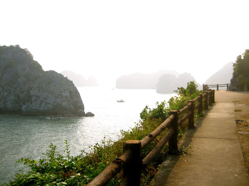 Exploring the oceanside hills of Cat Ba Island in Halong Bay after a group hike