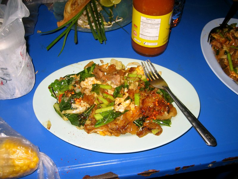 Pad see ew loaded with veggies from the vendor across the street