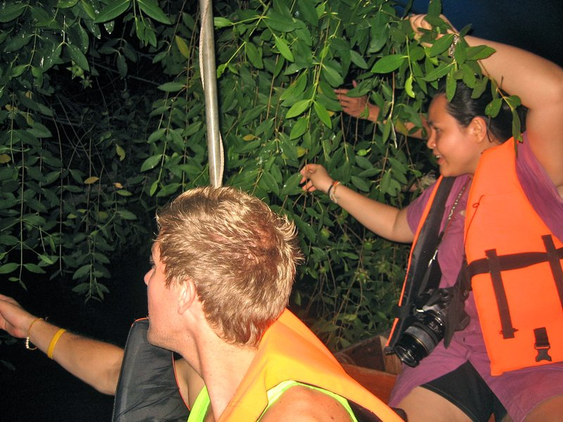 Catching fireflies from the trees on our nighttime boat ride down the river.