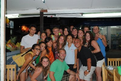 That's Sue, the owner, in the light blue shirt. She was our Koh Phangan Mama!