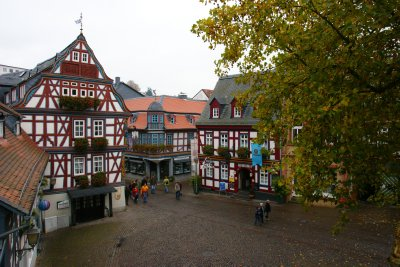 Beautifully preserved houses in the historical centre of Idstein, Germany