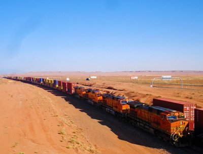 Train through Arizona desert, US