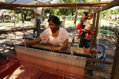 Silk weaving lady at work
