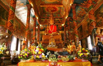 Colourful interior of Wat Phnom