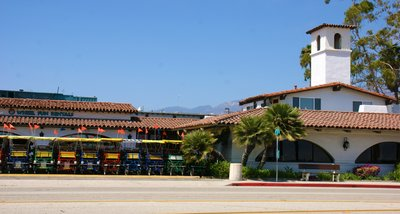 Bike hire place at the Santa Barbara seaside, California, US