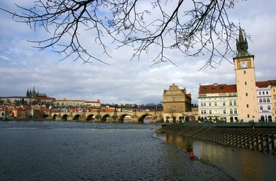 View of river Vltava in Prague with Charles Bridge in the background