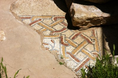 Piece of mosaic in Madaba&#39;s Archeological Park