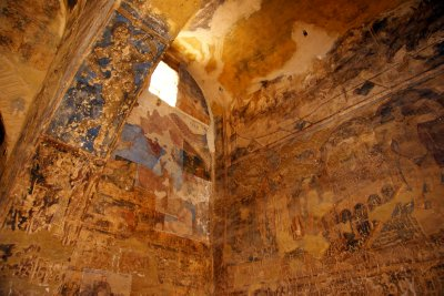 Colourful frescos decorating main hall in Qusair Amra castle