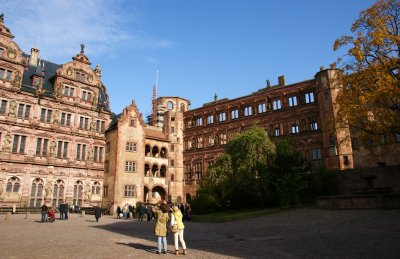 Courtyard at the Heidelberg castle showing restored part of the castle as well as ruins