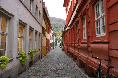 Contrastingly to the Main Street, many side street of Heidelberg were diserted