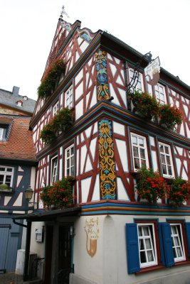 Many houses have exposed wooden beams but also beautifully carved wooden decorations, Idstein, Germany