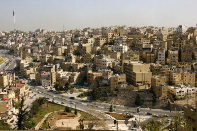 One of the heavily built-up hills of Amman with impressively monotonous architecture