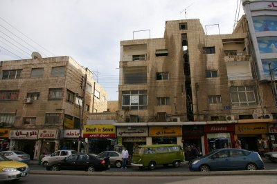 Kalid Bin Al-Walid street in Amman with authentic green VW and Bata shoe shop