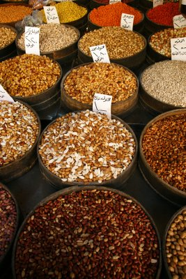 Selection of nuts and other dried foods at the Amman souks