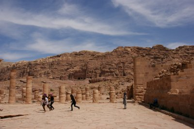 Spot the football - Jordanian girls playing in Petra