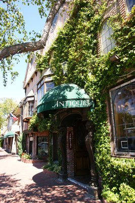 Town street in Solvang with nice architecture and plenty of greenery, California, US