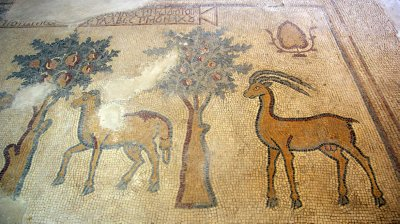 Gazellas and fruit trees mosaic in the Church of Apostles in Madaba